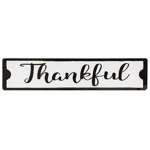 Thankful Enamel Black & White Sign