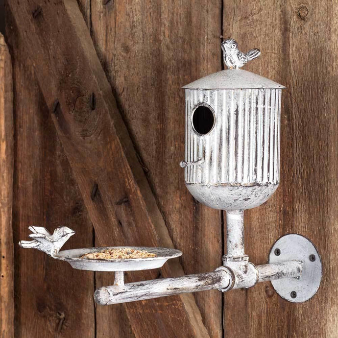 White Washed Bird Feeder & House - Decor Daily Deals