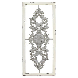 White Washed Framed Gray Medallion Wall Decor