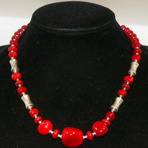 Red Glass Nugget Necklace