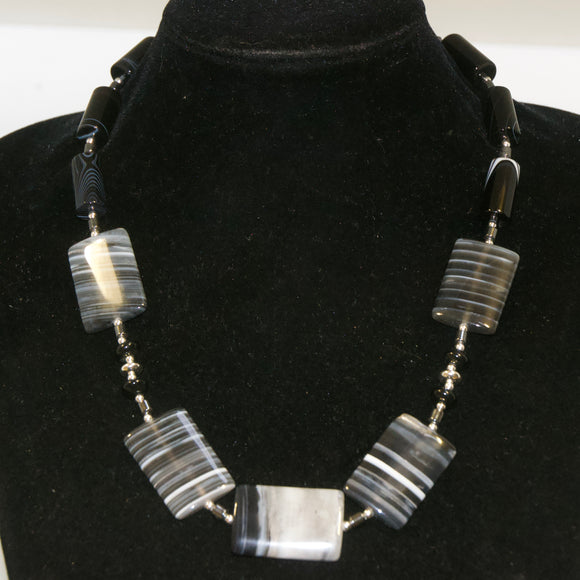 Black and white Agate and Sterling Silver Necklace