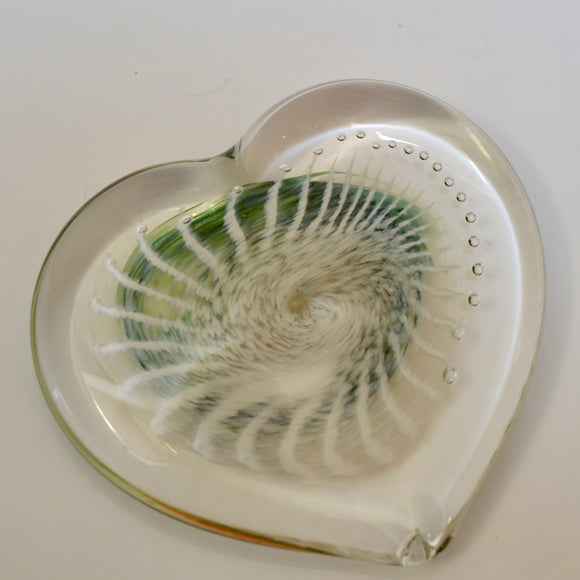 Green, Amber and White Angel Wing Heart Paperweight