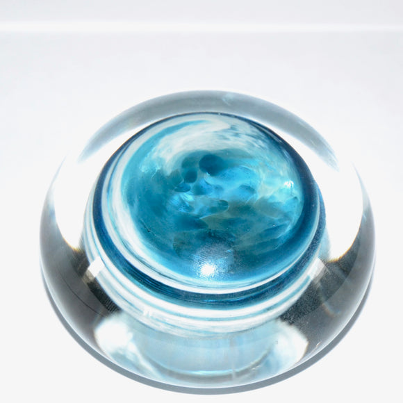 Turquoise and White Demonstration Paperweight
