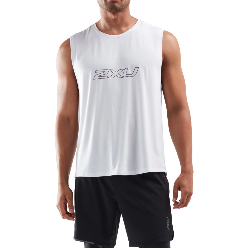 2XU | MENS CONTENDER TANK WHITE/BLACK