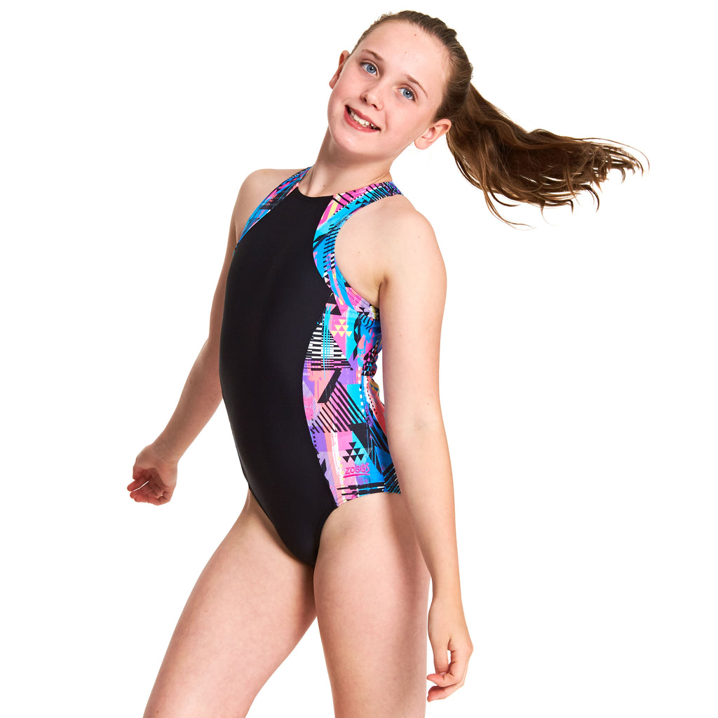 ZOGGS | GIRLS LABRYNTH RETRO SUIT (BLACK MULTI)