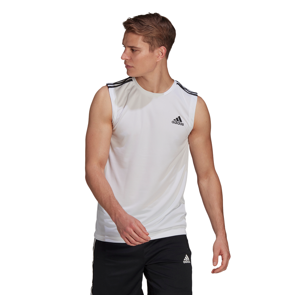 ADIDAS | MENS AEROREADY DESIGNED 2 MOVE 3-STRIPES TANK (WHITE/BLACK)