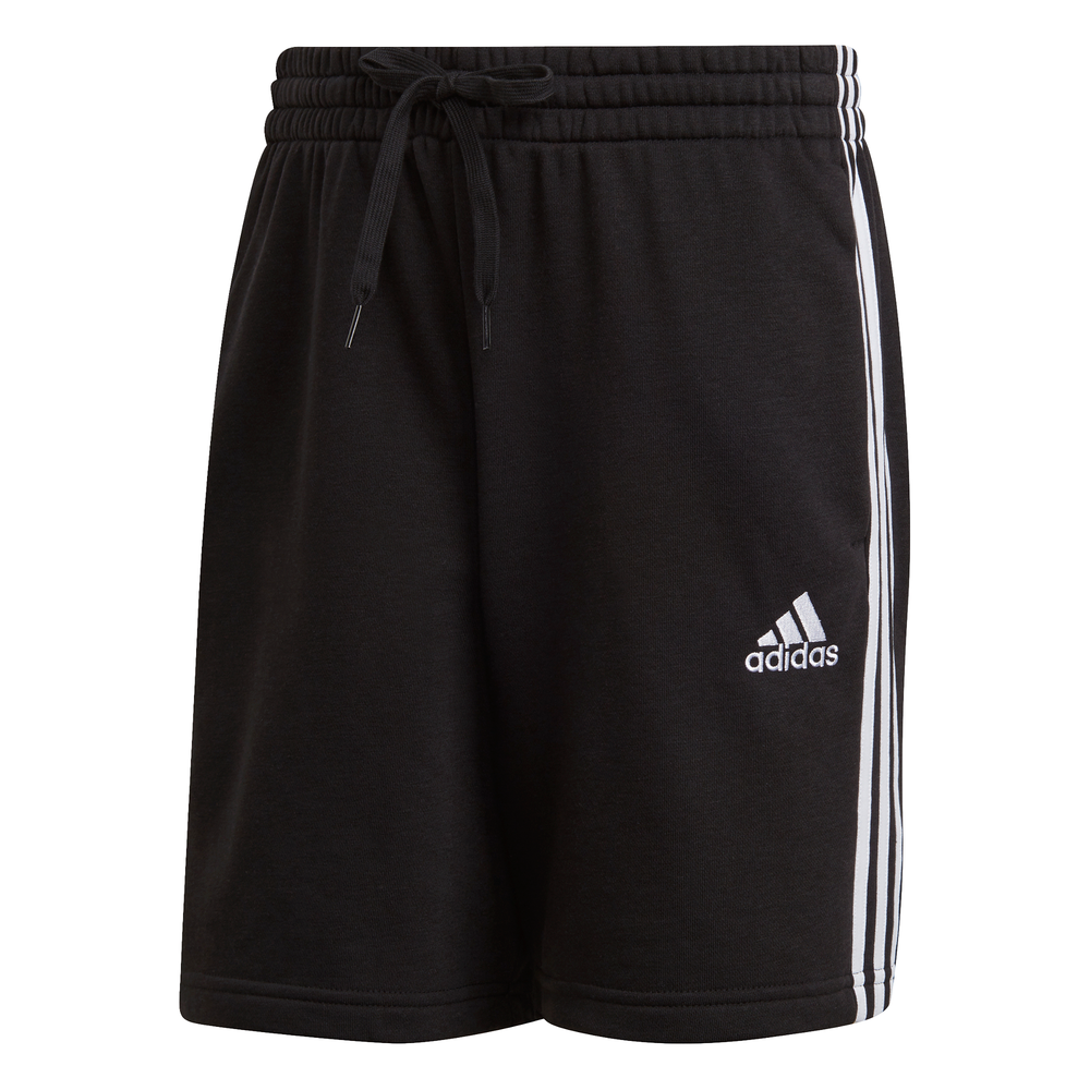 ADIDAS | MENS ESSENTIALS FRENCH TERRY 3-STRIPES SHORTS (BLACK/WHITE)