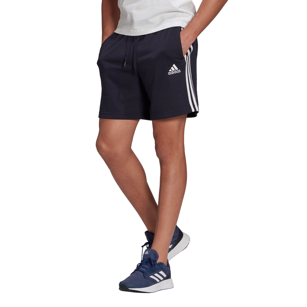 ADIDAS | MENS ESSENTIALS FRENCH TERRY 3-STRIPES SHORTS (NAVY/WHITE)