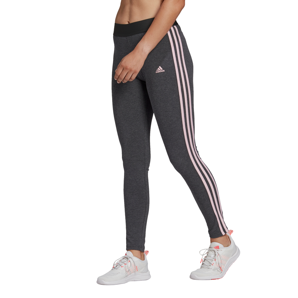 ADIDAS | WOMENS ESSENTIALS 3-STRIPE LEGGING (GREY/PINK)