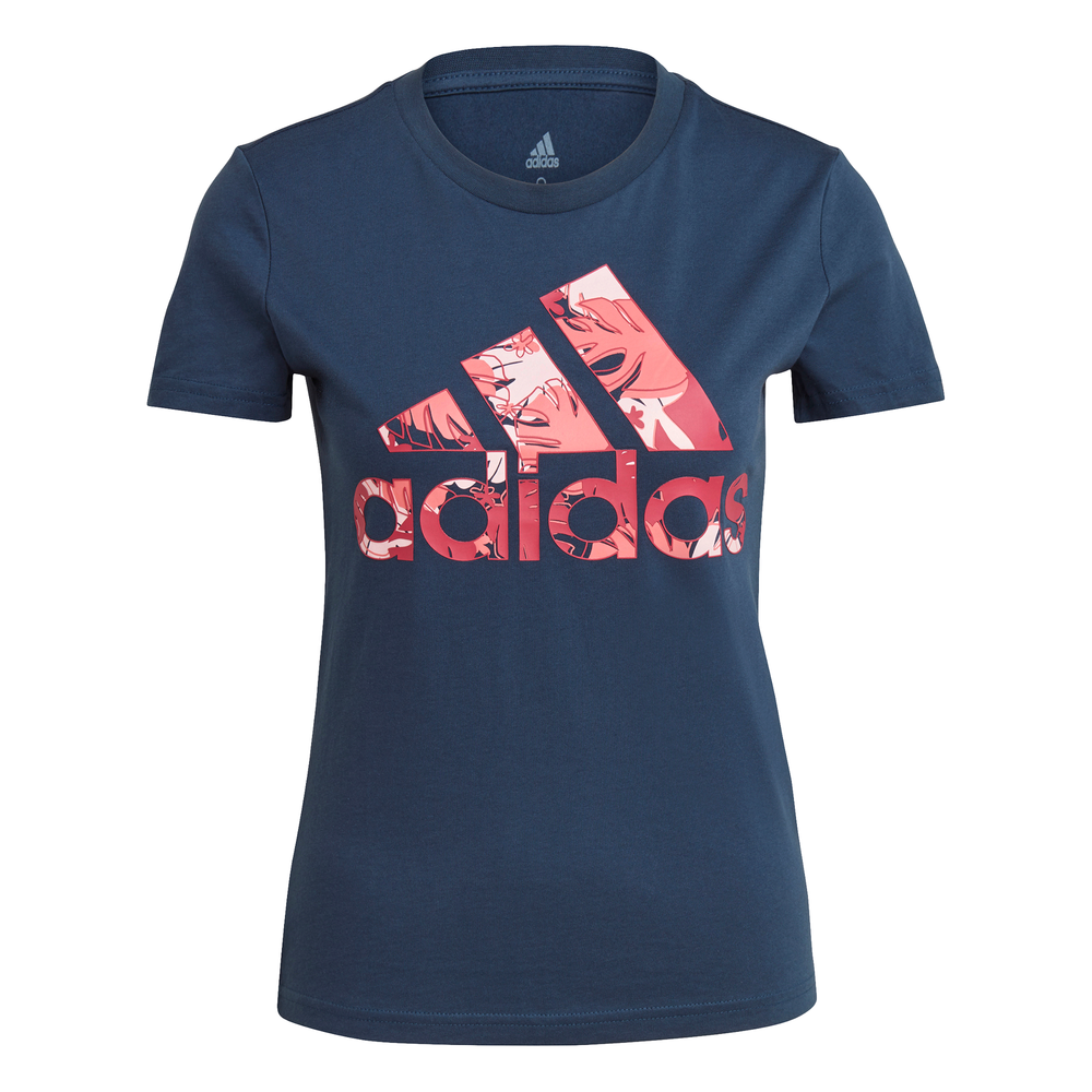 ADIDAS | WOMENS TROPICAL GRAPHIC TEE (CREW NAVY/PINK)
