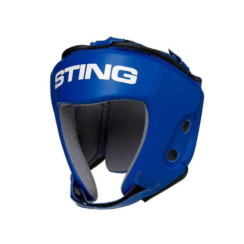 STING | COMPETITION LEATHER HEAD GUARD BLUE | AIBA APPROVED