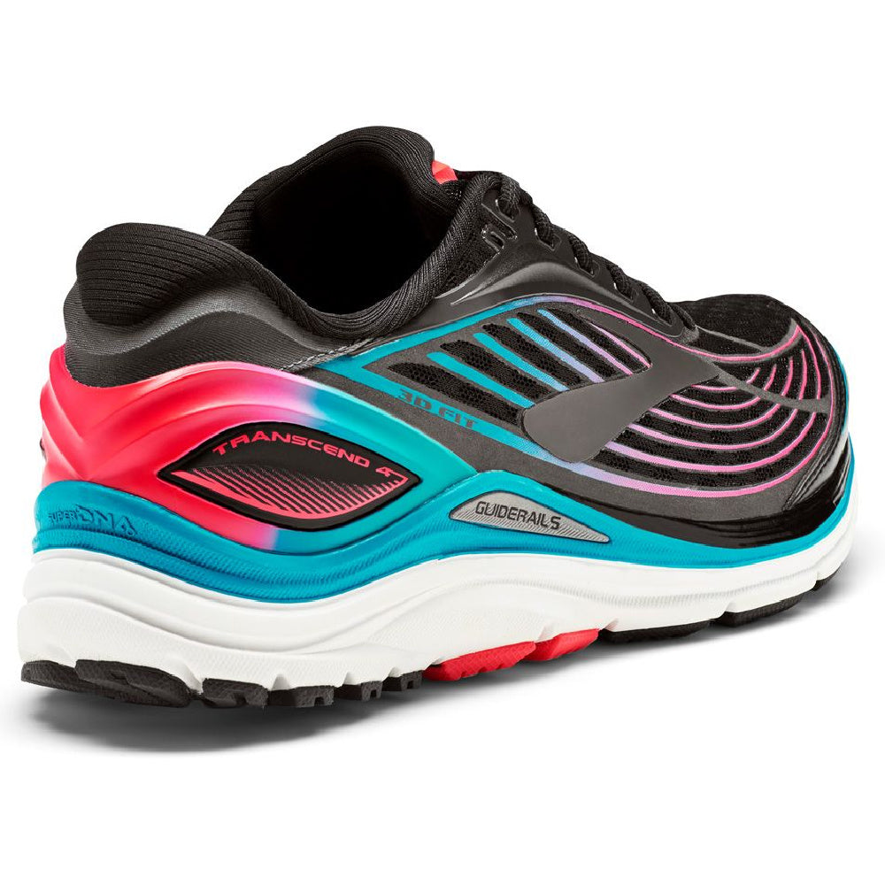 BROOKS | WOMENS TRANSCEND 4 (BLACK/TEAL/PINK)