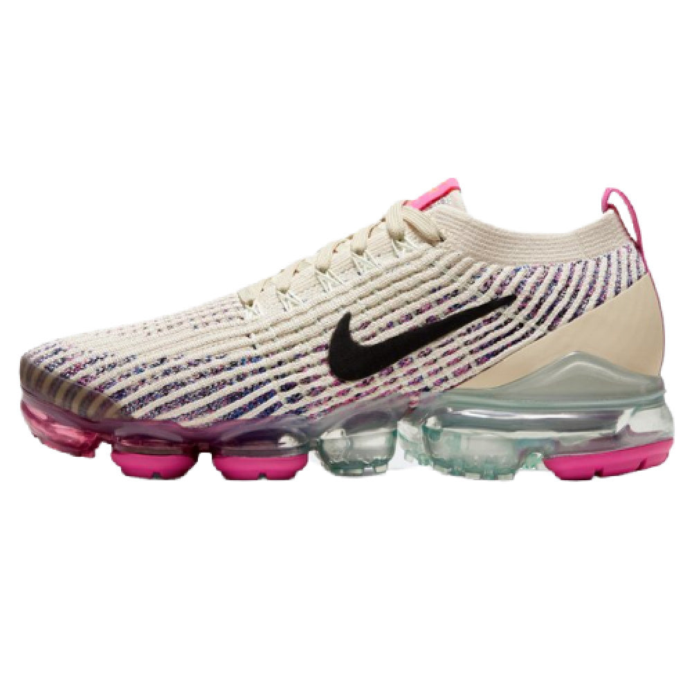 NIKE | WOMENS AIR VAPORMAX FLYKNIT 3 (FOSSIL/BLACK-FIRE PINK)