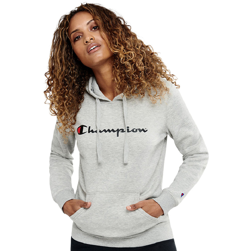 CHAMPION | WOMENS CHAMPION SCRIPT HOODIE (OXFORD HEATHER)