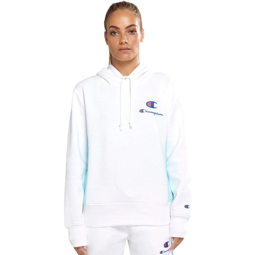 CHAMPION | WOMENS SPS PANEL HOODIE (WHITE/BLUE)