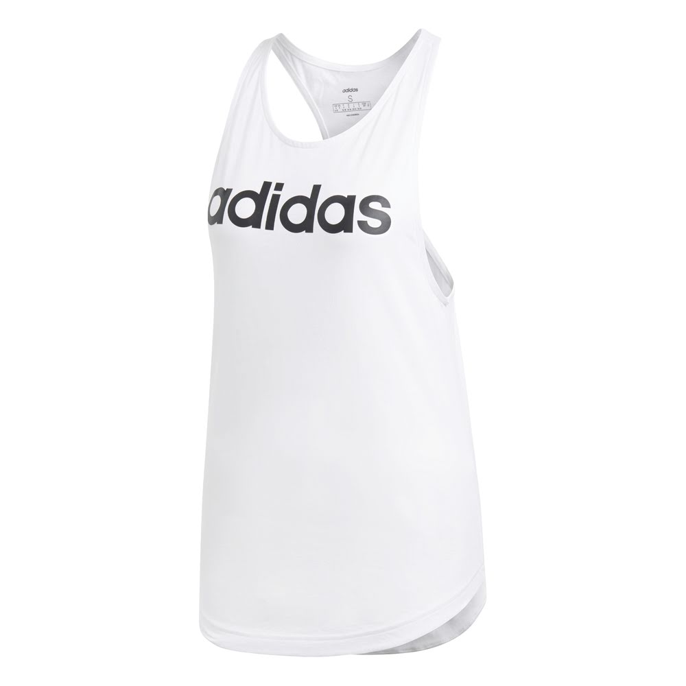 ADIDAS | WOMENS ESSENTIAL LINEAR LOOSE TANK WHITE/BLACK