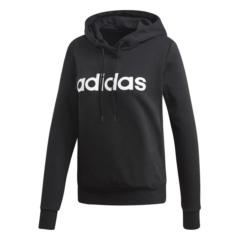 ADIDAS | WOMENS ESSENTIAL LINEAR PULLOVER HOODIE BLACK/WHITE