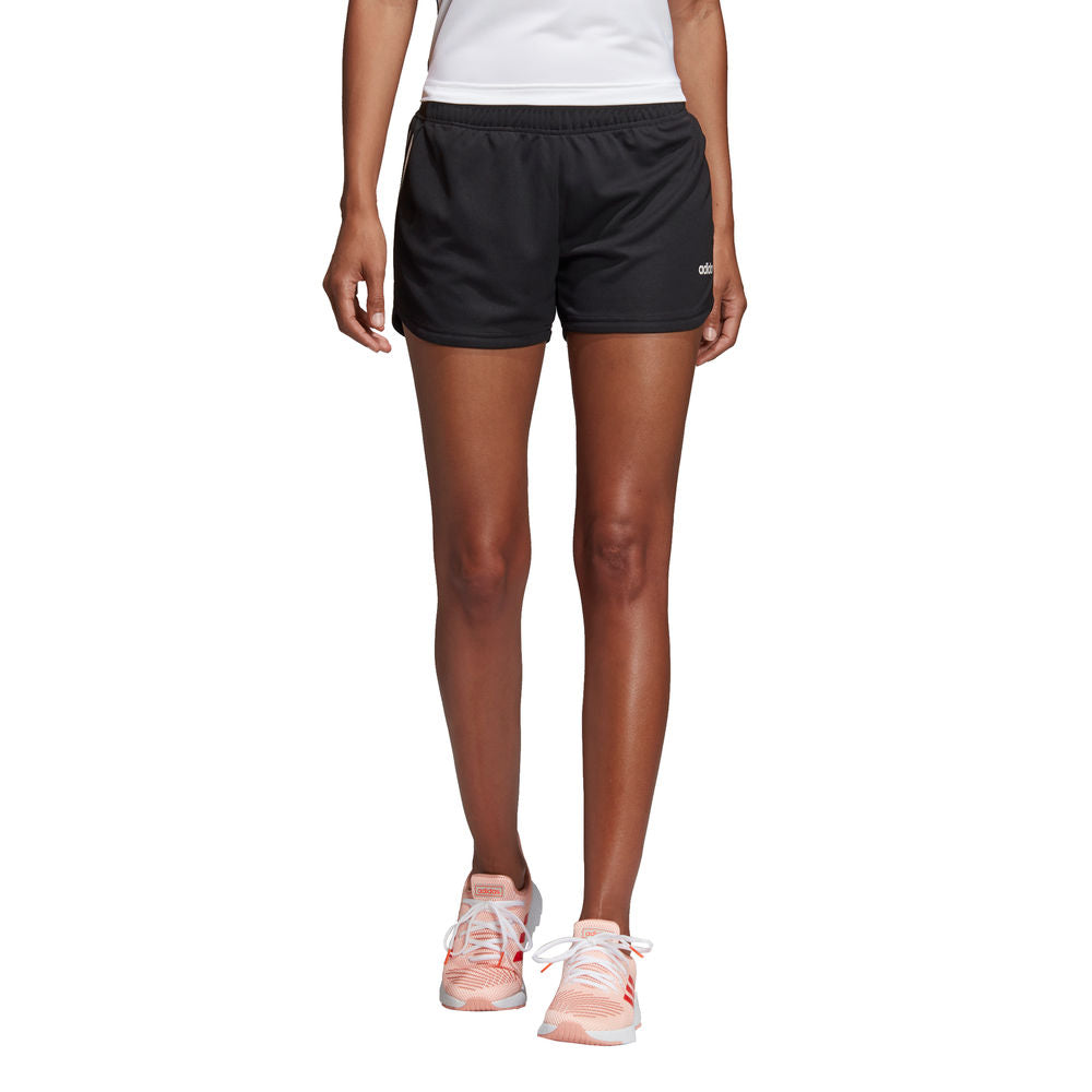 ADIDAS |  WOMENS DESIGN 2 MOVE 3-STRIPES KNIT SHORT BLACK/WHITE