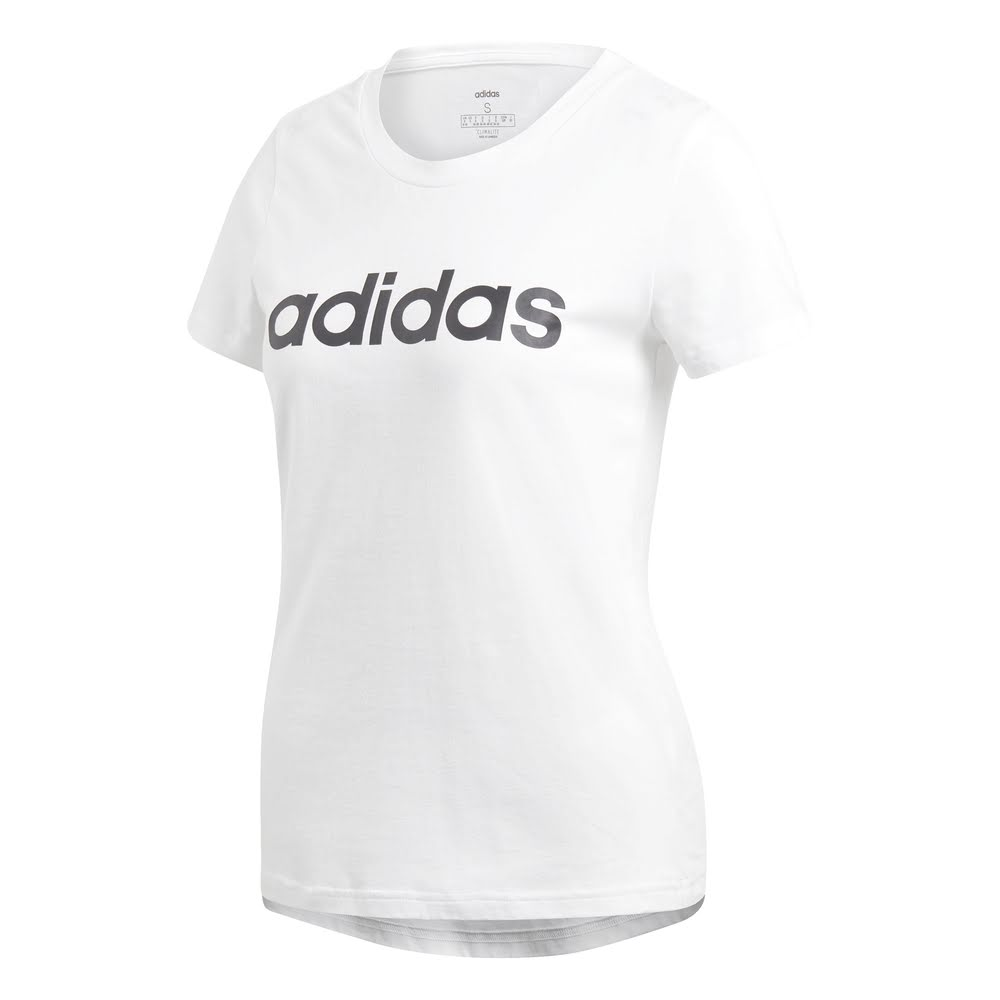 ADIDAS | WOMENS ESSENTIAL LINEAR SLIM TEE WHITE/BLACK