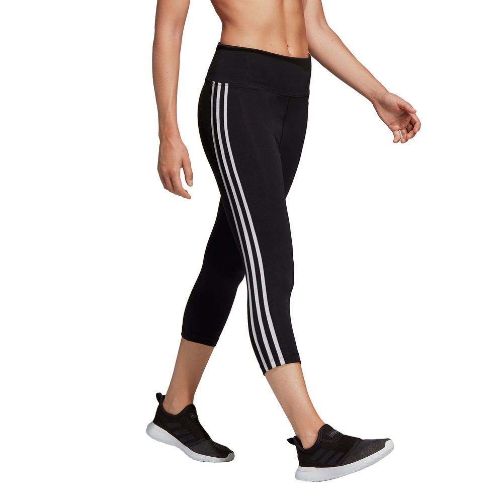 ADIDAS | WOMENS DESIGN 2 MOVE 3-STRIPES HIGH RISE 3/4 TIGHT BLACK/WHITE