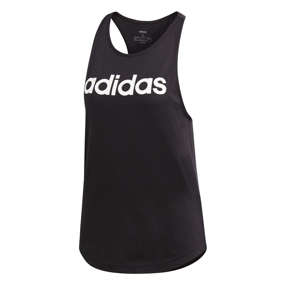 ADIDAS | WOMENS ESSENTIAL LINEAR LOOSE TANK BLACK/WHITE
