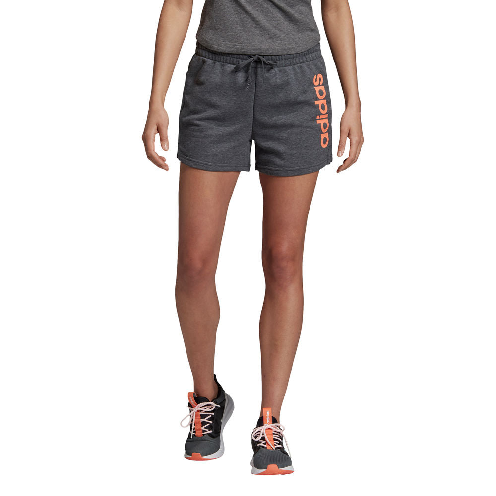 ADIDAS | WOMENS ESSENTIAL LINEAR SHORT GREY/CORAL