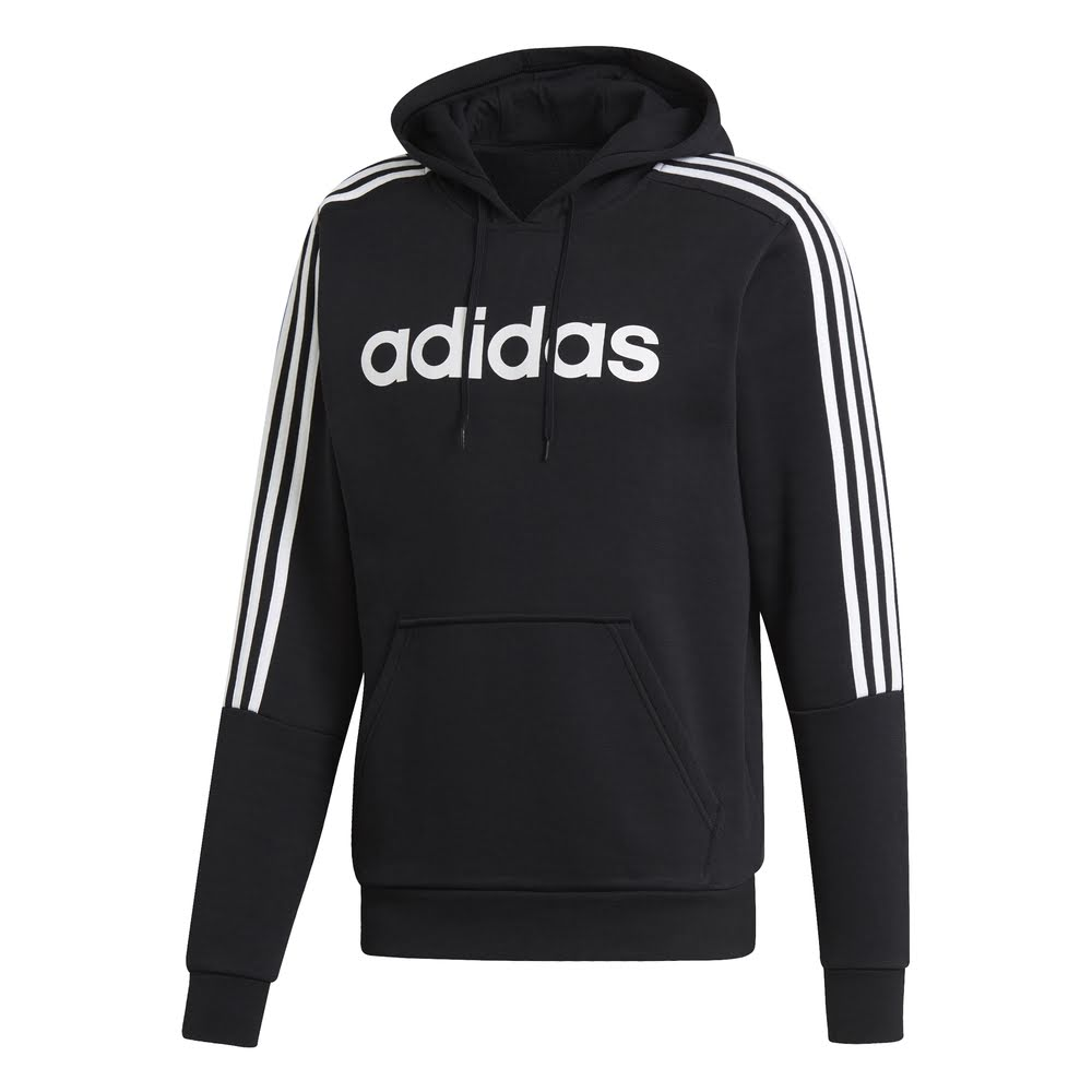 ADIDAS | MENS TEXT LOGO HOODIE BLACK/WHITE