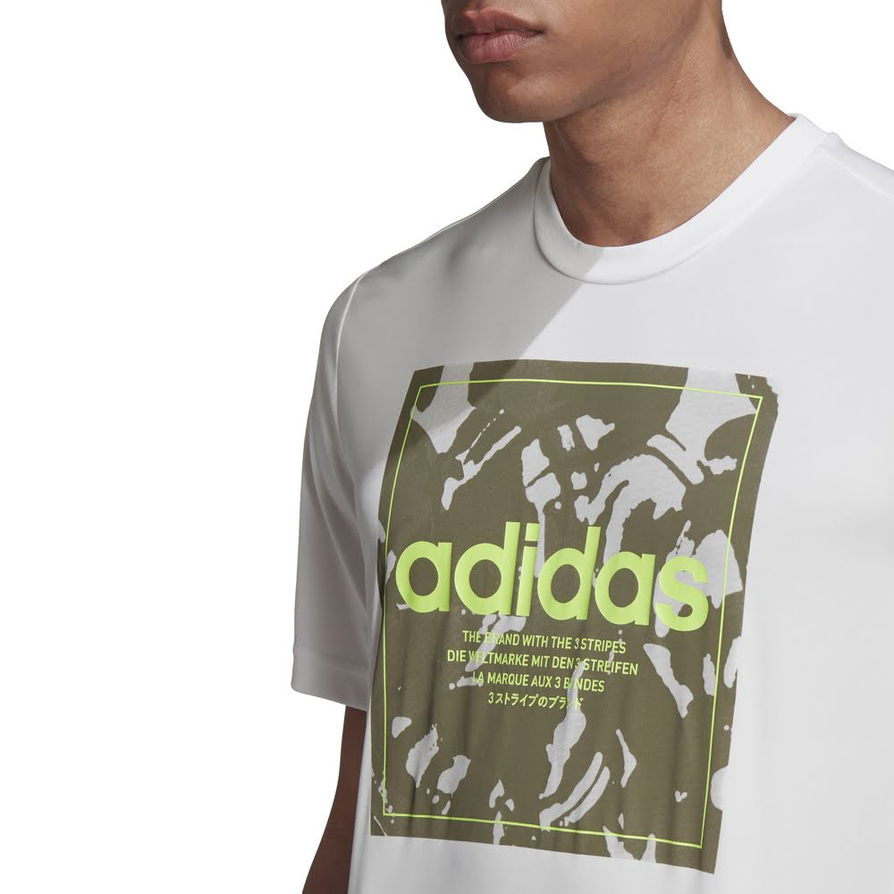 ADIDAS | MENS CAMO BOX TEE WHITE/GREEN CAMO