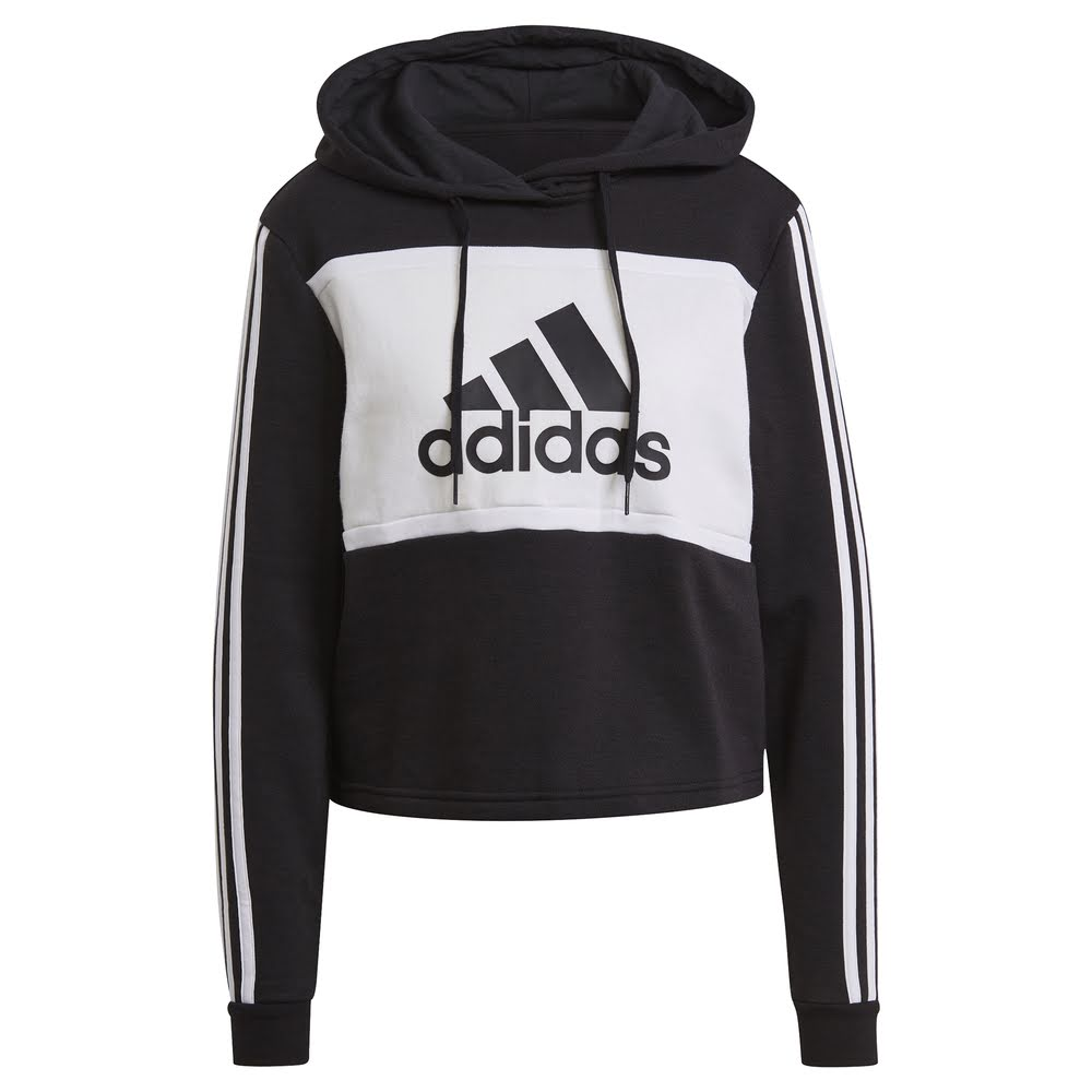 ADIDAS | WOMENS COLOUR BLOCKCROP HOODIE (BLACK/WHITE)