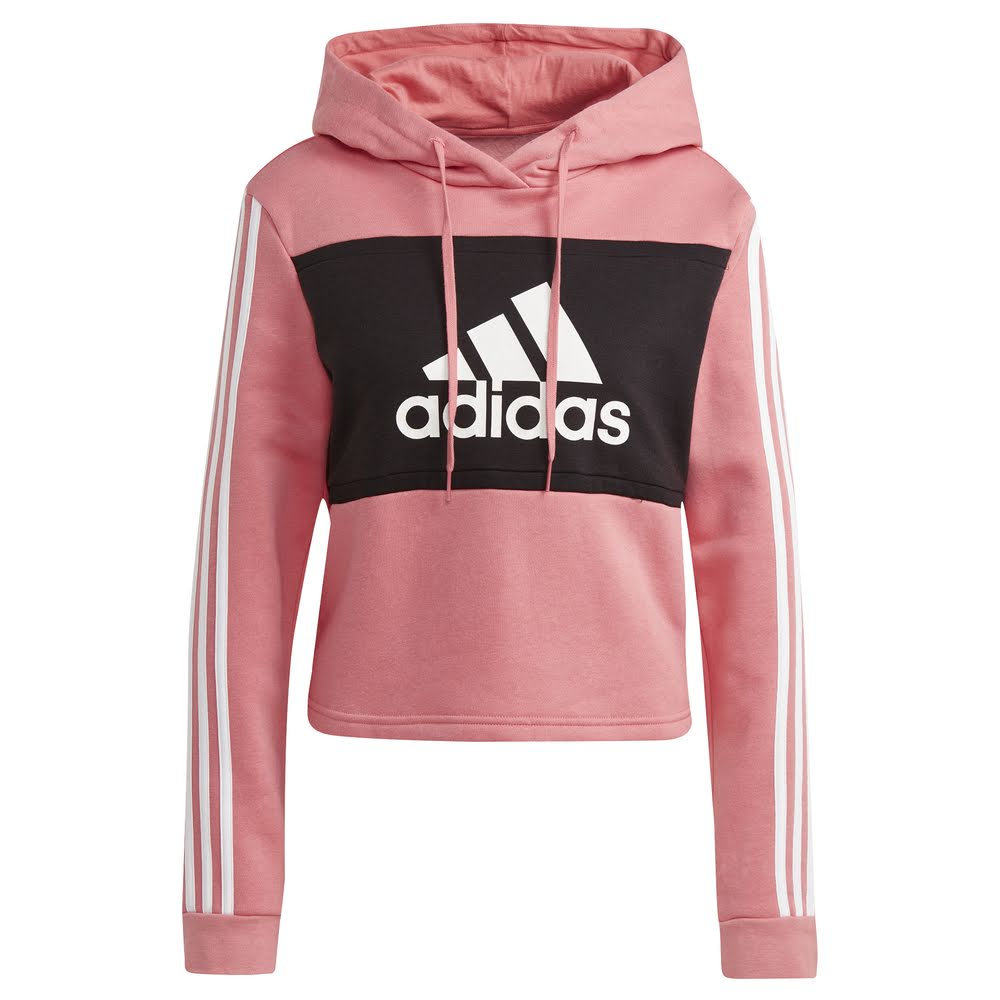 ADIDAS | WOMENS COLOUR BLOCKCROP HOODIE (BLACK/HAZY ROSE)