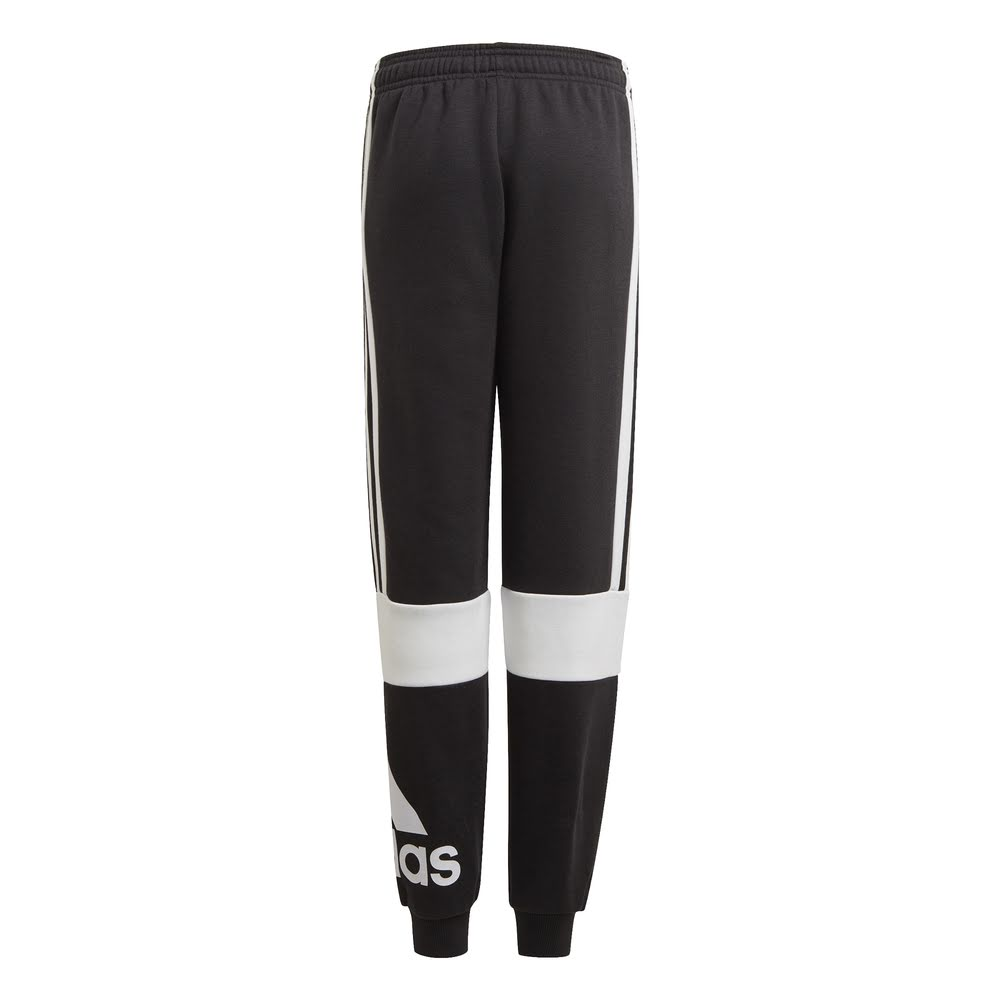 ADIDAS | BOYS COLOUR BLOCK FLEECE PANTS (BLACK/WHITE)