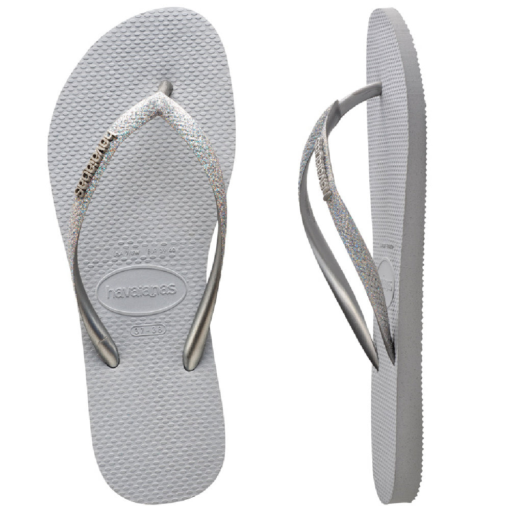 HAVAIANAS | WOMENS SLIM METAL LOGO GLITTER GREY