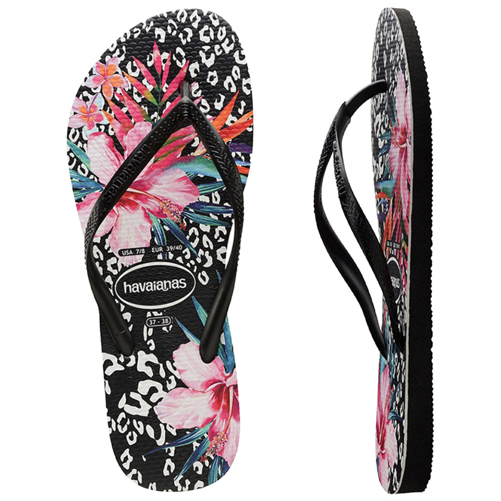 HAVAIANAS | WOMENS SLIM ANIMAL FLORAL BLACK