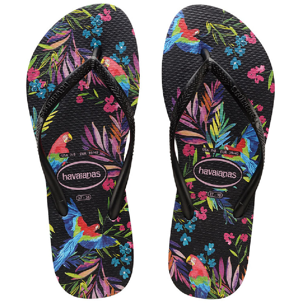 HAVAIANAS | WOMENS SLIM FLORAL TROPICAL BLACK