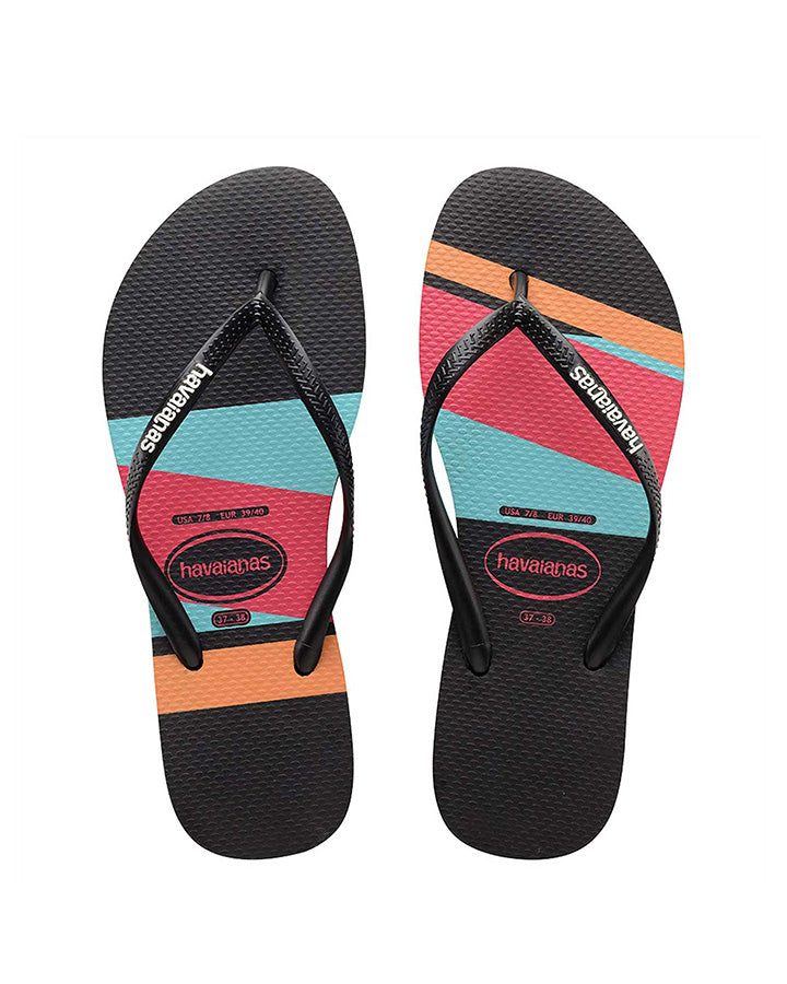 HAVAIANAS | KIDS SLIM STRIPES BLOCK THONGS (BLACK/COLOUR)