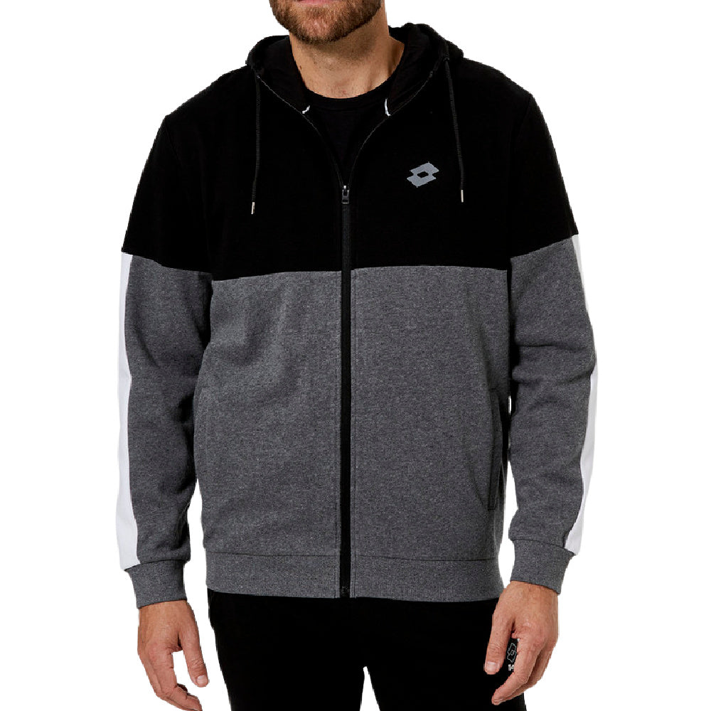 LOTTO | MENS DINAMICO FLEECE FZ HOOD BLACK/GREY