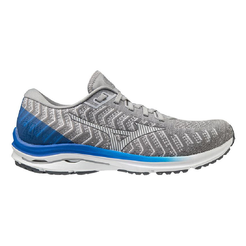 MIZUNO | MENS WAVE RIDER 24 WAVEKNIT (FROST GREY/BLUE)