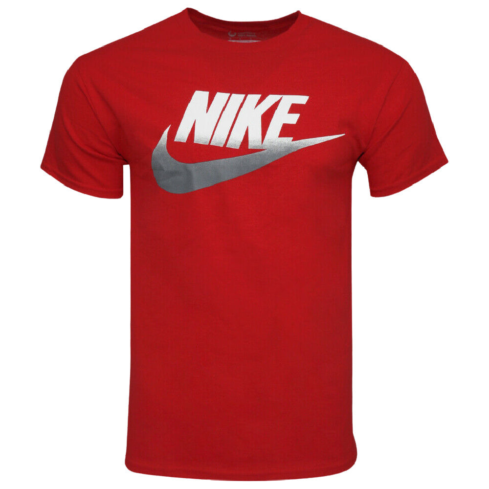NIKE | MENS SHORT SLEEVE TWO TONE GRAPHIC PRINT LOGO TEE RED