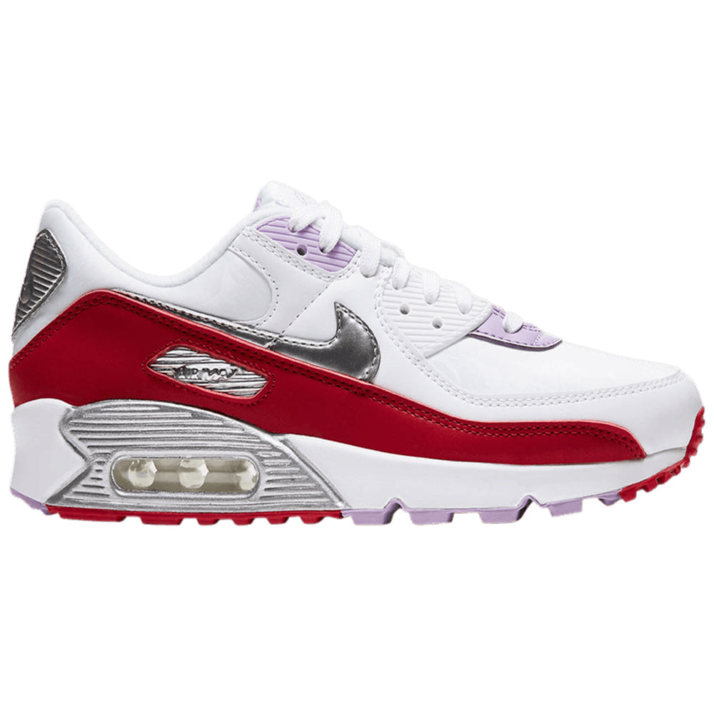 NIKE | WOMENS AIR MAX 90 (WHITE/METALLIC SILVER/GYM RED)