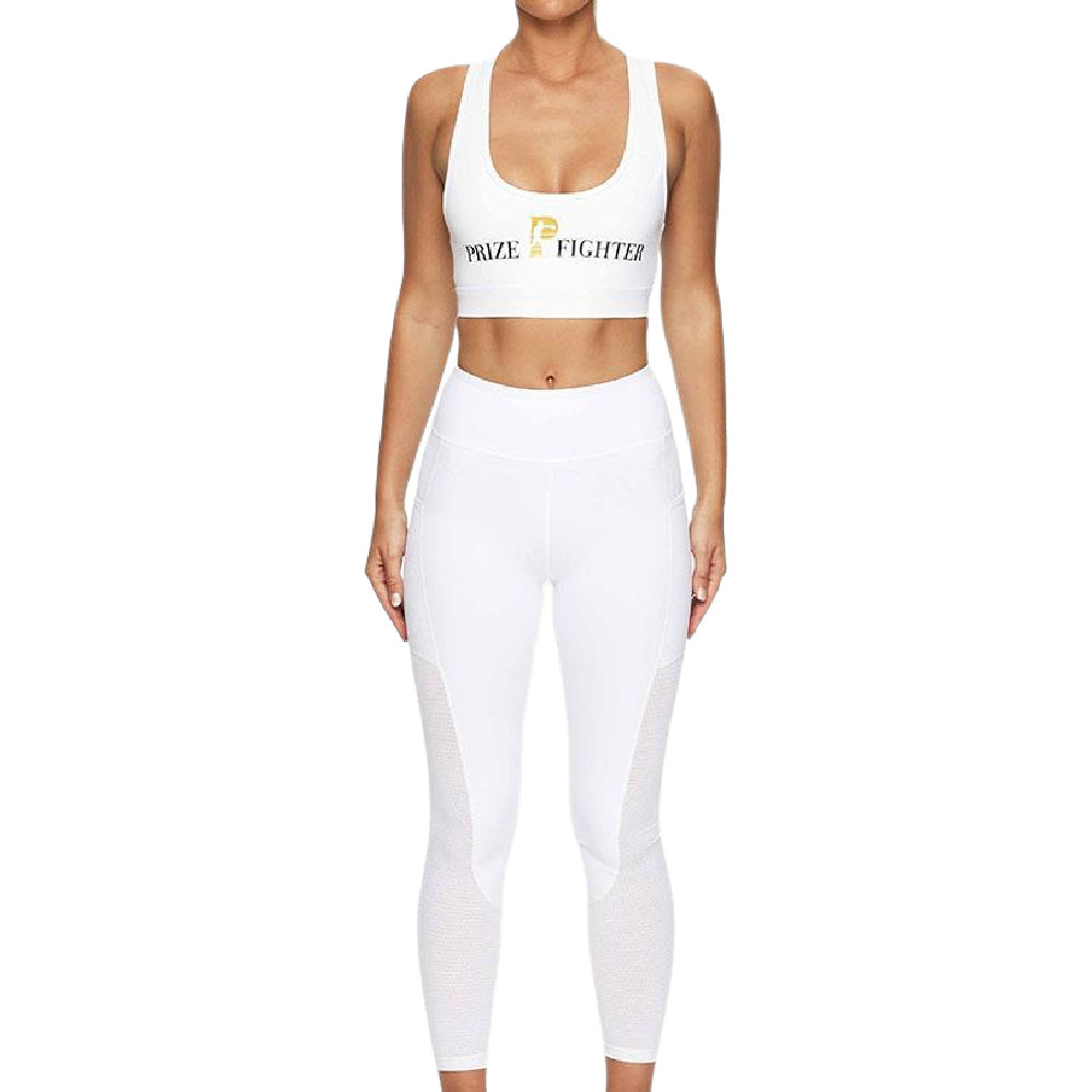 PRIZE FIGHTER | WOMENS CLASSIC SPORTS BRA WHITE