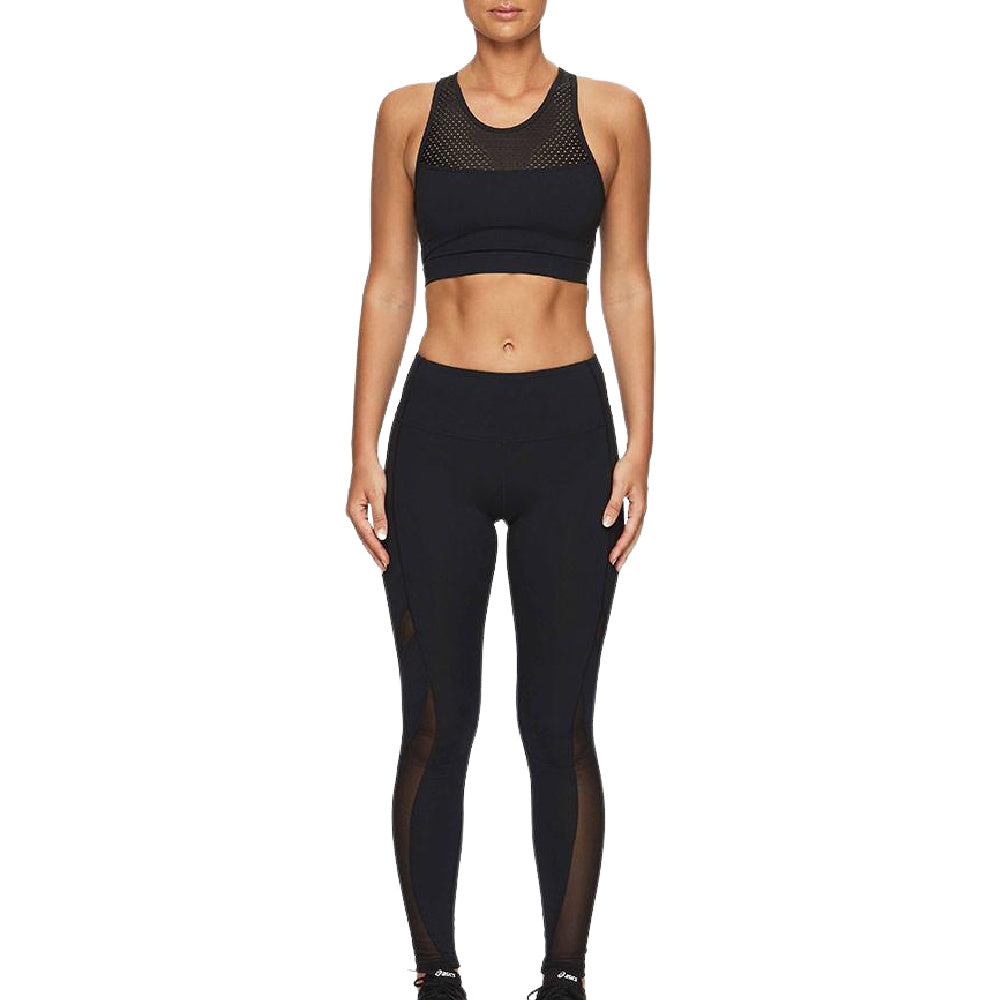 PRIZE FIGHTER | WOMENS MESH YOGA SPORTS BRA BLACK