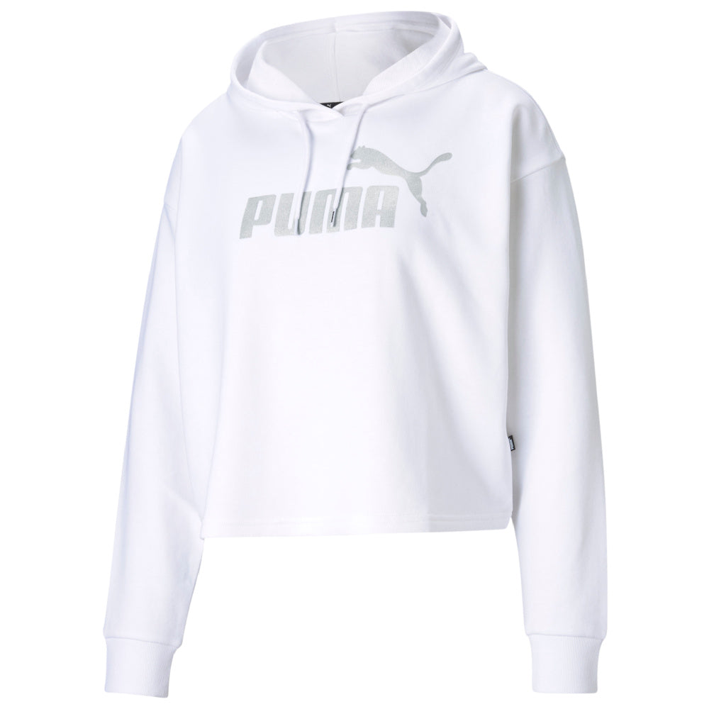 PUMA | WOMENS ESSENTIALS+ CROPPED METALLIC LOGO HOODIE (WHITE/SILVER)