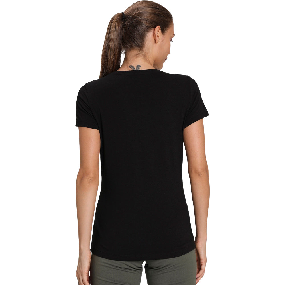 PUMA | WOMENS ESSENTIALS+ METALLIC TEE BLACK/GOLD