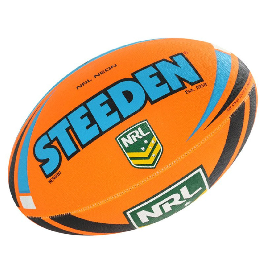 STEEDEN | NRL NEON SUPPORTER FOOTBALL BLUE/ORANGE SZ 5