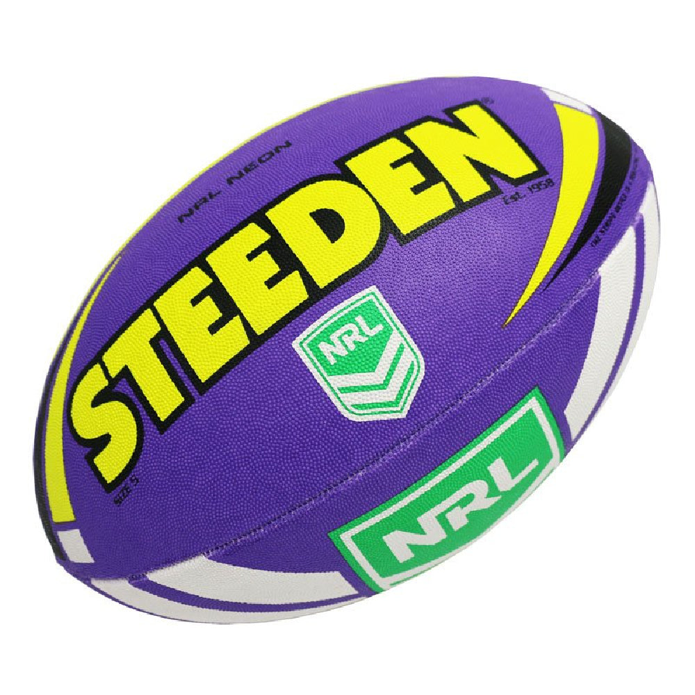 STEEDEN | NRL NEON SUPPORTER FOOTBALL PURPLE/YELLOW SZ 5