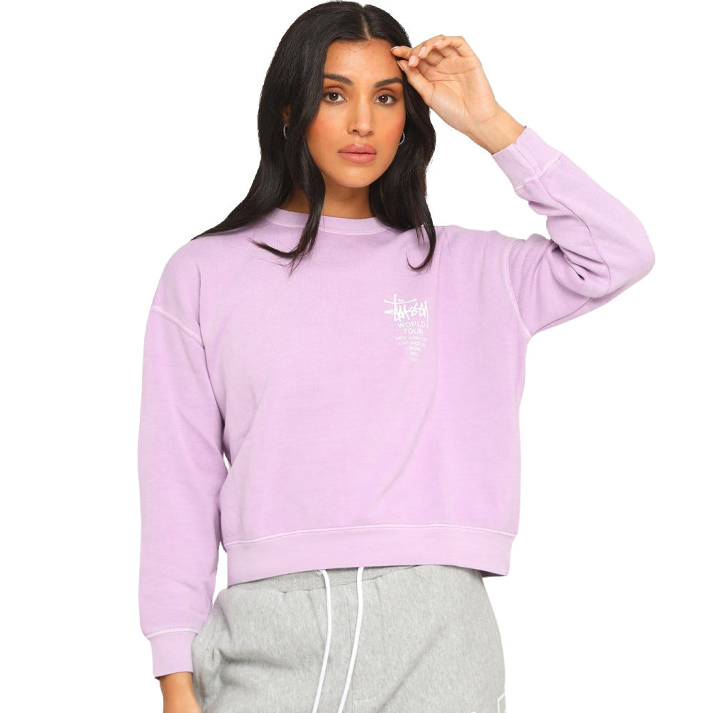 STUSSY | WOMENS WORLD TOUR PIGMENT CREW (LILAC)
