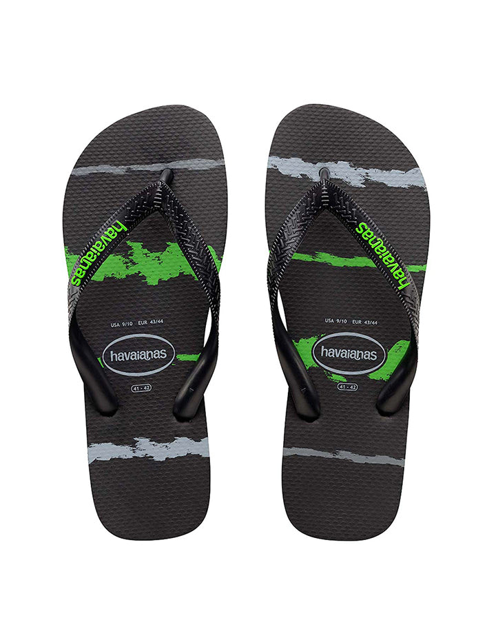 HAVAIANAS | KIDS TROPICAL GLITCH (BLACK/NEON GREEN)