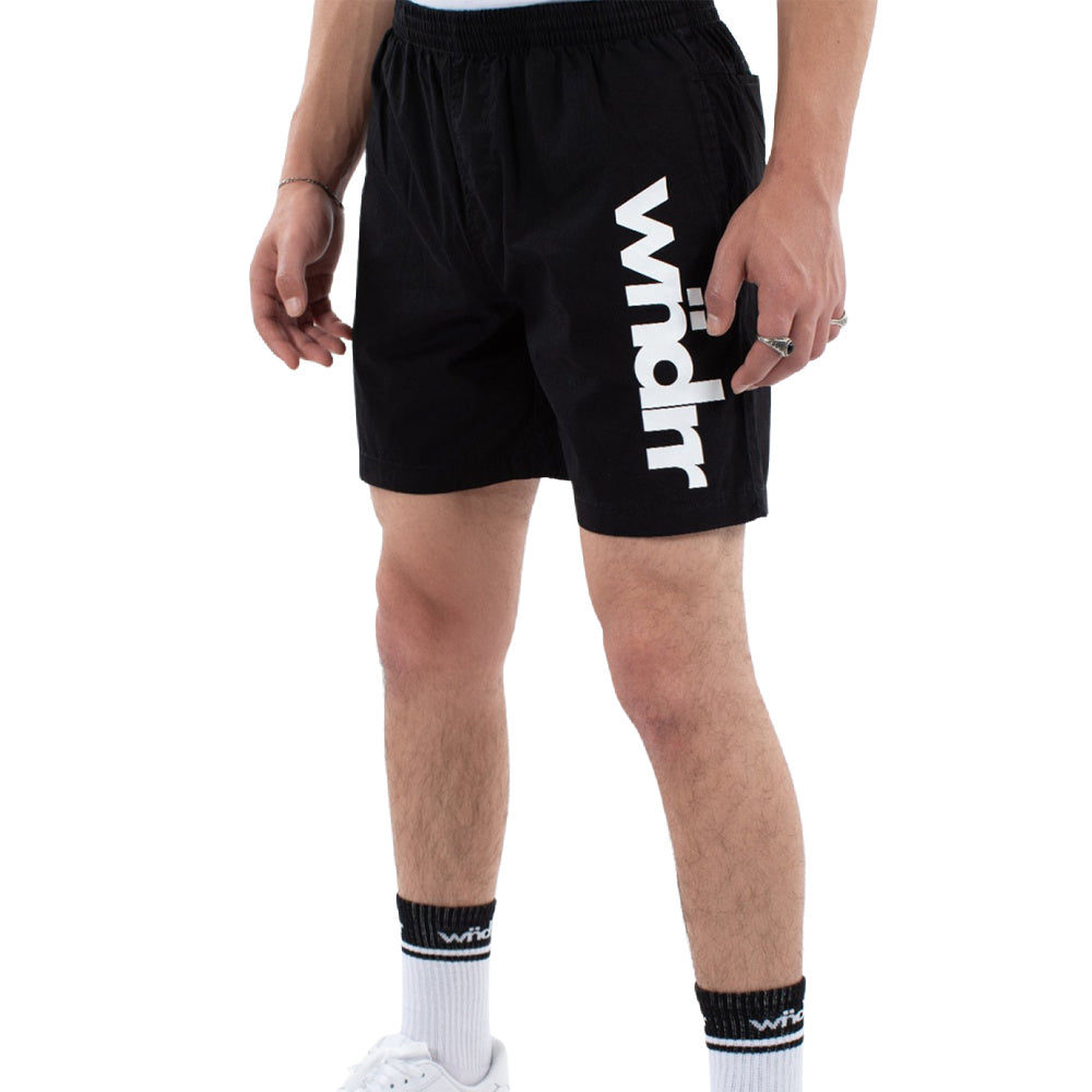 WNDRR | MENS LEADER BEACH SHORT BLACK/WHITE