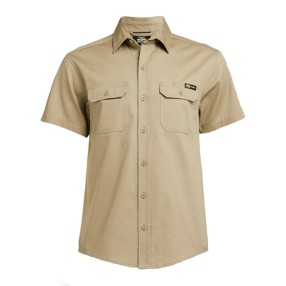 DIADORA UTILITY | MENS SS SOLID WOVEN SHIRT (TAUPE)