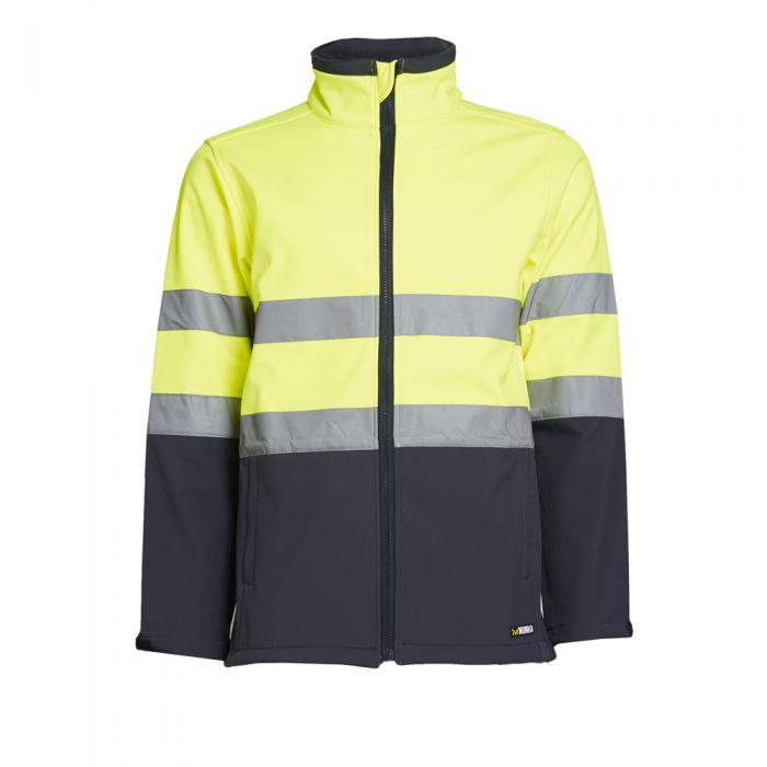 MUNKA | MENS HI VIS SOFT SHELL JACKET (YELLOW/NAVY)